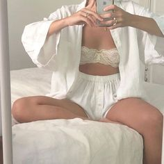 Linen sleep set ☁️ and dream aquamarine ring 💎 Mode Outfits, Fashion Outfits, Womens Fashion, Fashion Tips, Cute Casual Outfits, Summer Outfits, Looks Style, My Style, Jolie Lingerie