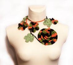 Декор для шеи шарф цветы шнурок ожерелье от GGUA на Etsy, $15.00