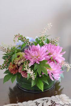 flower arrangement, Dahlia, Zinnia, Phytolacca, Hydrangea, Rubus