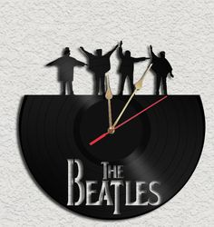The Beatles Theme Vinyl Record Clock Upcycled by geoartcrafts, €20.00