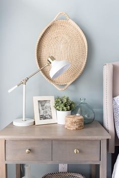 Master Bedroom Refresh - changing the look of the bedroom with paint - paint color is Benjamin Moore Cloudy Sky