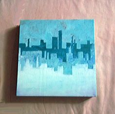 Original Abstract Painting, Aqua Blue Skyline, Art Block Cityscape, Horizon, Skyscrapers, Modern Handpainted Art