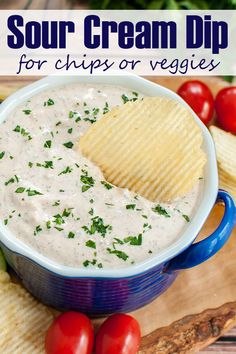 Perfect for Memorial Day. Everyone loves a good sour cream chip dip! Great for veggies too. This easy sour cream dip takes just a couple minutes to throw together. Easy make ahead appetizer recipe for a potluck or party. Sour Cream Veggie Dip, Sour Cream Chip Dip, Sour Cream Sauce, Sour Cream And Onion Powder Recipe, Sour Cream Dip Recipe, Dips With Sour Cream, Easy Chip Dip, Easy Chips, Nacho Dip