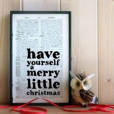 'merry little christmas' vintage book art by bookishly | notonthehighstreet.com