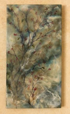 Original encaustic painting blue branches by EncausticsbyGretchen