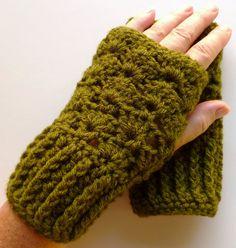 Wrist Warmers Fingerless Gloves Crocheted Olive Green
