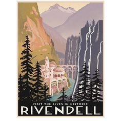 Lord of the Rings Rivendell Retro Travel Poster