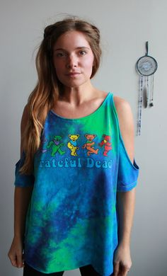 5139a6e080794 Grateful Dead Dancing Bears Bear Tie Dye Cut Out Open Off The Shoulder Peep  Shoulder Upcycled Tshirt Tee Top Shirt Womens Clothing