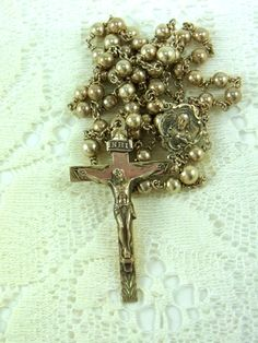 Vintage Sterling Rosary Beads Sterling Prayer Beads Vintage Catholic Rosary Beads Gift Idea by WhatnotsAndFancifuls on Etsy