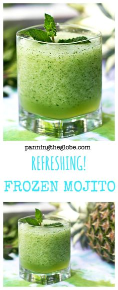 Light, minty and refreshing. You can make this ahead and keep it in the freezer.  Scoop into glasses and enjoy a frosty treat!