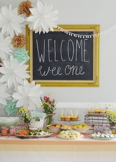 bright, gender neutral themed baby shower