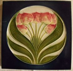 Here is a wonderful art nouveau Jugendstil ceramic tile with a raised tulips motif in pink, greens and blue, made in Germany by Muegeln. Azulejos Art Nouveau, Motifs Art Nouveau, Bijoux Art Nouveau, Antique Tiles, Vintage Tile, Antique Art, Art Nouveau Tiles, Art Nouveau Design, Design Art