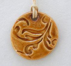 Tan Butterscotch Amber Swirl Ceramic Pendant Necklace by BluMudd, $7.00