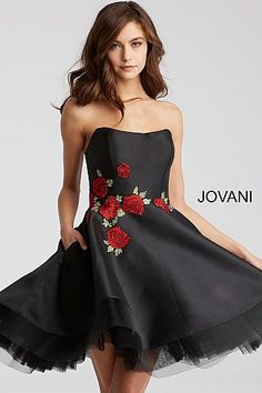Black Fit and Flare Floral Applique Short Dress 55136. Abiti Da BalloVestiti  FormaliAbiti Di RasoSexy ... 74ad2c2f5c1