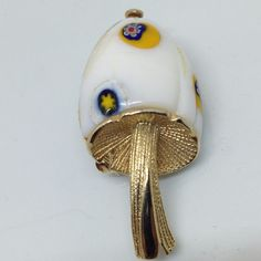 Vintage MUSHROOM BROOCH PIN Millefiori Glass Gold Tone Costume Jewelry $5.00 sale! #ebay #vintagebrooch #vintagejewelry