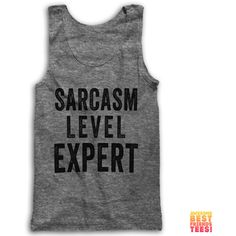Sarcasm Level Expert ($28) ❤ liked on Polyvore featuring tops, black, tanks, women's clothing, loose shirts, black tank top, vintage tank top, unisex shirts and vintage shirts