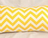 Decorative Pillow Cover - Yellow Chevron Zig Zag Decorative 12 x 22 Accent Cushion Cover