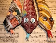 neck tie snakes on etsy.great way to use as a weighted sensory tool.cute way to recycle those old ties! Tie Crafts, Fabric Crafts, Crafts To Make, Sewing Crafts, Sewing Projects, Craft Projects, Crafts For Kids, Arts And Crafts, Craft Ideas