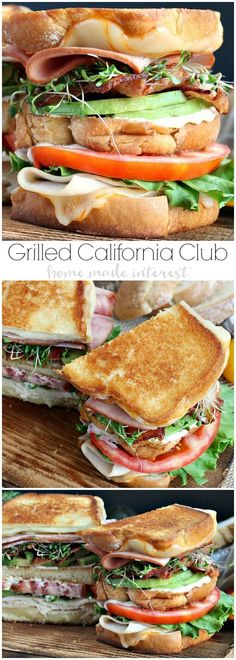 An amazing grilled cheese recipe for National Grilled Cheese Month! We've taken a California Club sandwich and turned it into a triple decker grilled cheese sandwich. This grilled california club sandwich oozes Munster cheese, and is piled high with ham,