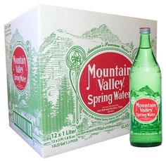Mountain Valley Spring Water 1 Liter in Vintage Glass Bottle