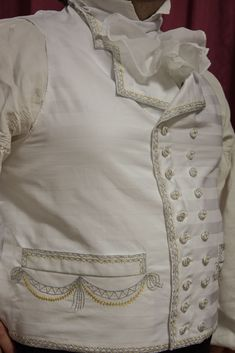 The embroidered gentleman's waistcoat, the end of the 18th century, made according to the extant metal embroidered cotton gentleman's waistcoat sold on eBay https://www.ebay.com/itm/Gentlemen-s-18th-Century-Cotton-Waistcoat-with-Metallic-Embroidery-/291611911513?hash=item43e56ca559:g:GQAAAOSwYHxWP5WN The waistcoat is made of a cotton damask and twill, embroidered with a tambour work with silver thread and with a silk