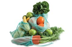 Reuseable produce bags made of Repreve recycled yarn.