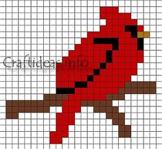 Cardinal (large square board) | Perler Beads | Pinterest | Perler ...