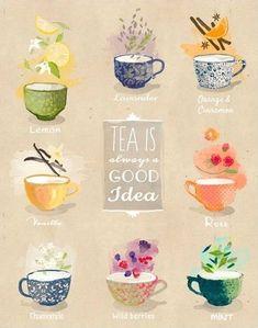 Tea is always good idea - artprint / illustration - My Cup of Tea - Café Chocolate, Tea Quotes, Tea Time Quotes, Buch Design, Tea And Books, Cuppa Tea, My Cup Of Tea, Tea Recipes, Recipes Dinner