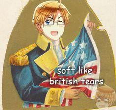 Aph America - Soft like British tears Hetalia Funny, Hetalia Anime, Studio Deen, Hetalia America, Usuk, Axis Powers, W 6, Awesome Anime, Hetaoni