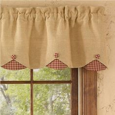 This is a window covering diy project that turned out rather well burlap check red lined scallop valance measures x cotton lined dry cleaning recommended to prevent shrinkage coordinating window treatments are solutioingenieria Image collections