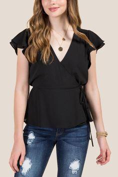 c4de1549019 Larissa Flutter Sleeve Wrap Top Affordable Clothes