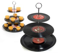 upcycled records into a cupcake stand