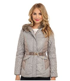 7a82dc7fb8aa Ellen tracy belted mini trench w faux fur hood down at 6pm.com