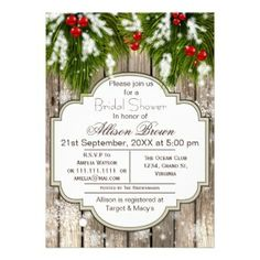 Rustic Winter Woodland Bridal shower Personalized Invitations for a Winter Wedding.