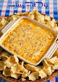 Hissy Fit Dip Recipe - sausage, sour cream, Velveeta, muenster, onion and garlic powder, Worcestershire sauce and parsley - SO good. You will definitely throw a hissy fit if you miss out on this dip! Crazy good! Can mix together and refrigerate a day before baking. Serve with chips and veggies! It is always gone in a flash!