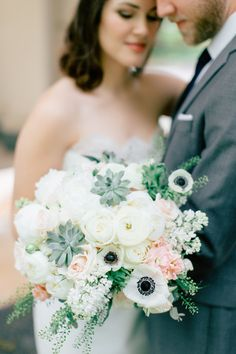 Succulents, ranunculus, anemone, and roses: http://www.stylemepretty.com/missouri-weddings/st-louis/2015/07/28/chic-cocktail-party-wedding-in-st-louis/ | Photography: MNC - http://mnc-photography.com/