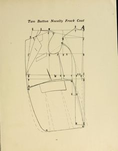 1907 Men's two button novelty frock coat pattern. Grand edition of Supreme system for producing men's garments.