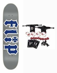 "FLIP SKATEBOARDS Complete HKD GRAY / BLUE Skateboard 8 by Flip. $64.99. Flip Complete Skateboard Features Flip - HKD Deck, Size 8"". Complete components include Core Trucks, 52mm TGM Goth Logo Wheels, Amphetamine Abec 5 Bearings, Black Diamond Griptape, 1"" Hardware and 1/8"" risers."
