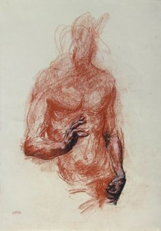 Red Figurative Gesture Drawing  conte on by derekoverfieldart, $85.00