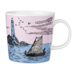 Moomin night Sailing Anniversary mug. Sad I didn't buy this last year when we were in Finland. Moomin Shop, Moomin Mugs, Tove Jansson, 65th Anniversary, Porcelain Mugs, Cute Mugs, Plates And Bowls, Marimekko, My Happy Place