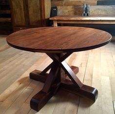 Walnut Pedestal Table, made at Woodstock Vintage Lumber in Nashville, TN.