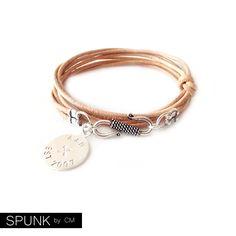 Round Leather Bracelet  Personalized Sterling Silver by SPUNKbyCM
