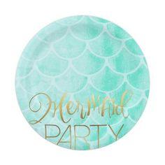 Aqua Mermaid Party   Under The Sea Birthday Paper Plate