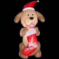 6.5 ft Golden Retriever Stocking Lighted Christmas Airblown Inflatable Outdoor