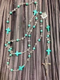 Turquoise and Crystal Cross Rosary  by SterlingHappiness on Etsy