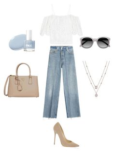 Effortlessly! by maral-askari on Polyvore featuring polyvore fashion style Ganni RE/DONE Jimmy Choo Prada Ace clothing