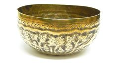 Antique temple bowl, brass with hand repousse and engraved detail. Lovely edging around the rim, with a frieze of a hunting scene with male