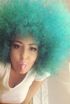 I like colour a lot, and I want to show people it IS possible to take care of your hair as well Green Hair, Purple Hair, Curly Hair Styles, Natural Hair Styles, Men Hair Color, Fantasy Hair, Portraits, Crazy Hair, Afro Hairstyles