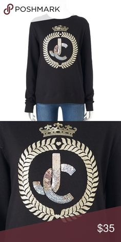 """Juicy Couture Black Crown """"JC"""" Sweatshirt NWT Juicy Couture black with gold crown """"JC"""" super soft french terry sweatshirt will give you laid-back glamour! Bold graphics deliver a look that's both casual and couture! Embellished with foiled, glitter and sequined graphic CROWN JC in golden tone.  Crewneck and long sleeves. Cotton 60% Polyester 40%  *M (8-10), L (12-14)  *Bundle Discounts * No Trades * Smoke free* Juicy Couture Tops Sweatshirts & Hoodies"""