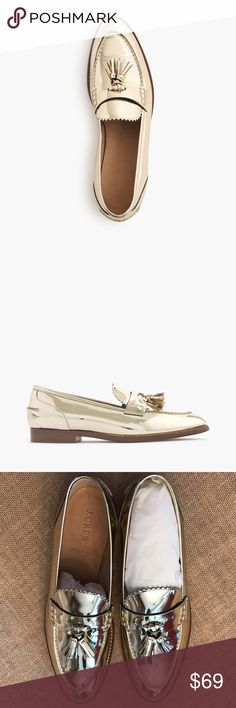 New J.Crew Mirror Metallic Biella Loafers I bought these for an event and didn't wear them, and so want to send them to a new home. Beautiful gold loafers, so comfortable, but still eye-catching! From the retail store. I don't have the original box. J. Crew Shoes Flats & Loafers